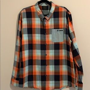 Oakley Orange and Blues Plaid Button Down Shirt